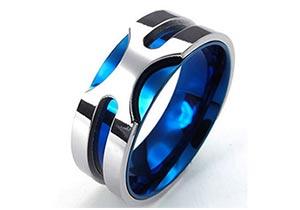 Modry prsten z chirurgickej ocele